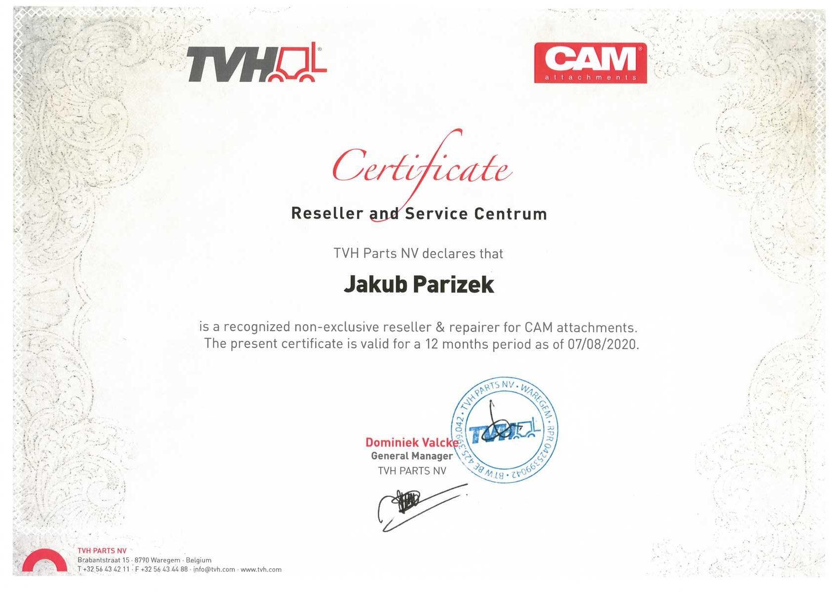 Certifikát | Vysokozdvižné vozíky Měřín